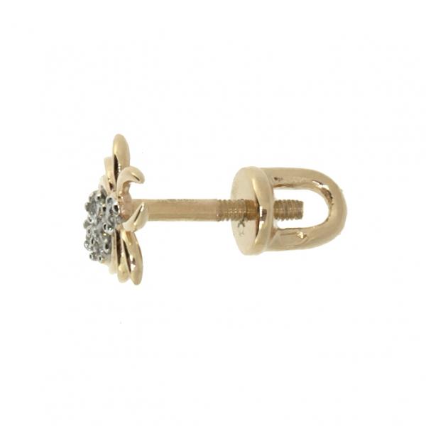 Золотые серьги-пусеты в красном золоте с бриллиантами ED-00262