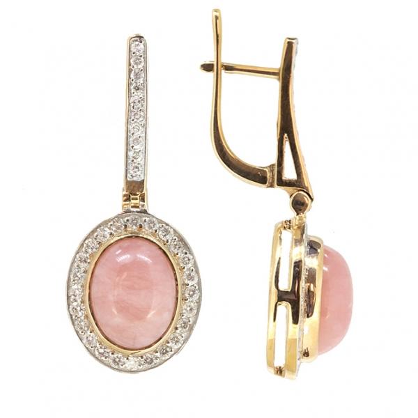 Серьги из красного золота 585 пробы с розовыми опалами и бриллиантами EOp/r-6804