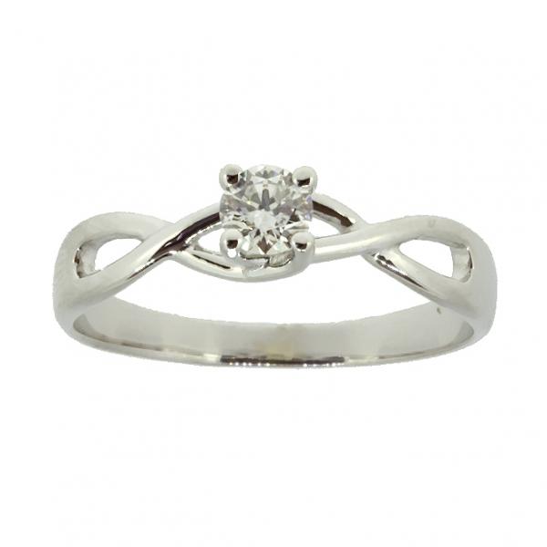Ювелирное кольцо из белого золота 585 пробы с бриллиантом RD-6877w
