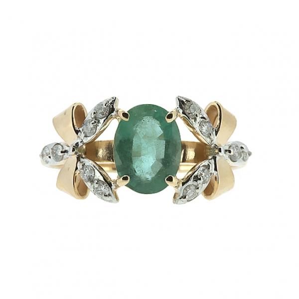 Ювелирное кольцо из красного золота 585 пробы с изумрудом и бриллиантами RDE-5533