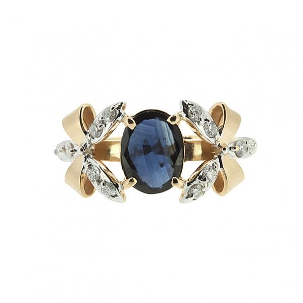 Ювелирное кольцо из красного золота 585 пробы с сапфиром и бриллиантами RDS-5533