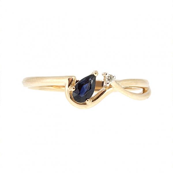 Ювелирное кольцо из красного золота 585 пробы с сапфиром и бриллиантом RDS-5576