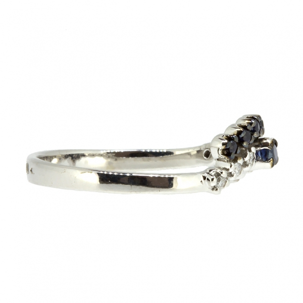 Ювелирное кольцо из белого золота 585 пробы с сапфирами и бриллиантами RDS-5588w