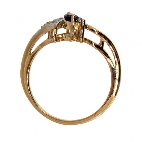 Ювелирное кольцо из красного золота 585 пробы с сапфиром и бриллиантами RDS-6862