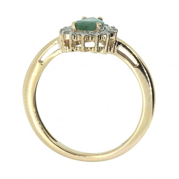 Ювелирное кольцо из красного золота 585 пробы с изумрудом и бриллиантами RDE-5552