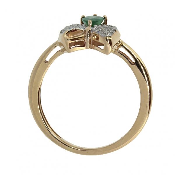 Ювелирное кольцо из красного золота 585 пробы с изумрудом и бриллиантами RDE-5557