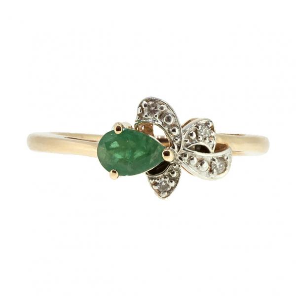 Ювелирное кольцо из красного золота 585 пробы с изумрудом и бриллиантами RDE-5569