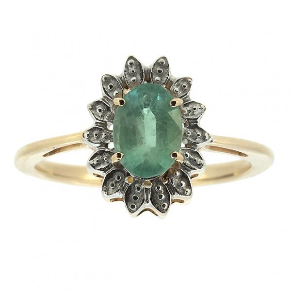 Ювелирное кольцо из красного золота 585 пробы с изумрудом RE-6702