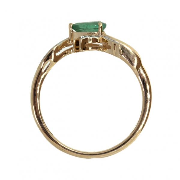Ювелирное кольцо из красного золота 585 пробы с изумрудом и бриллиантами RDE-6810