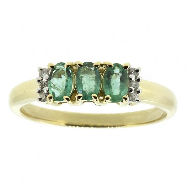 Ювелирное кольцо из жёлтого золота 585 пробы с изумрудами и бриллиантами RE-10353y