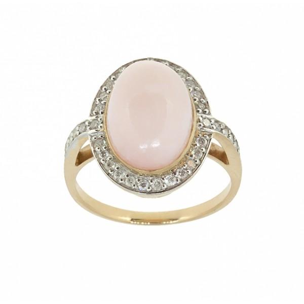 Ювелирное кольцо из красного золота 585 пробы с розовым опалом и бриллиантами ROp/r-6649