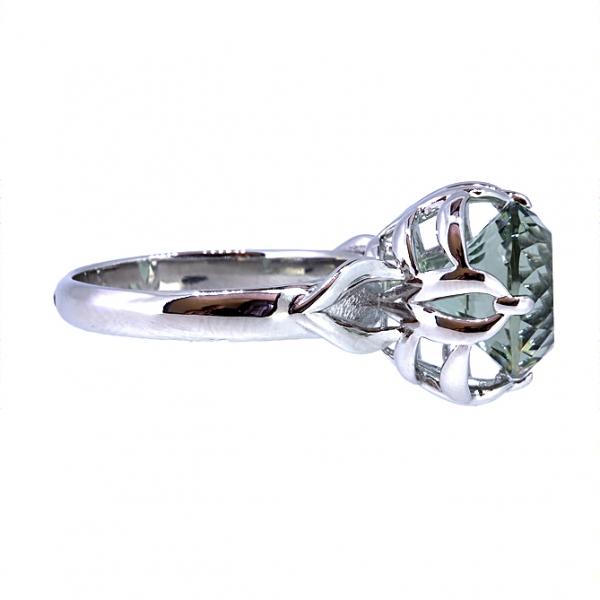Ювелирное кольцо из белого золота 585 пробы с празиолитом RPras-6857w