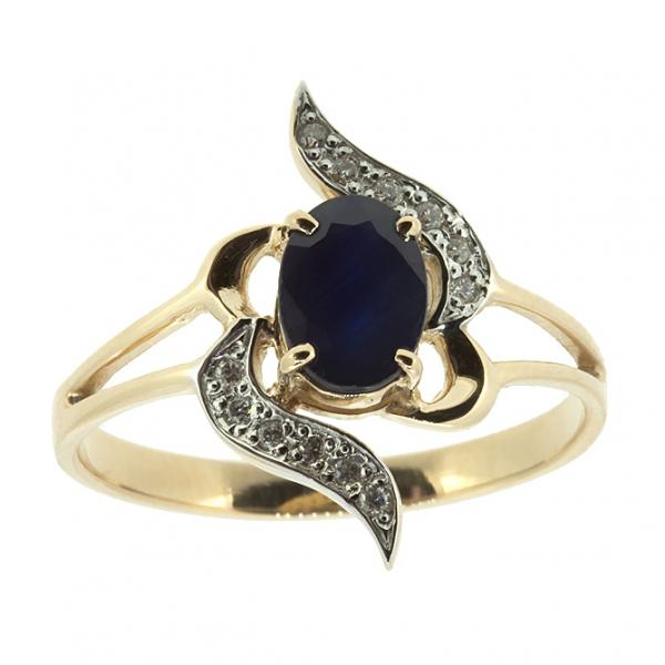 Ювелирное кольцо из красного золота 585 пробы с сапфиром и бриллиантами RS-5511