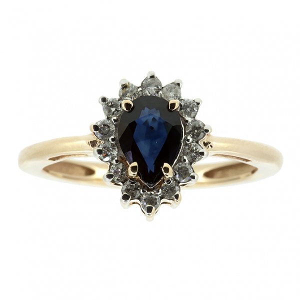 Ювелирное кольцо из красного золота 585 пробы с сапфиром и бриллиантами RDS-5552