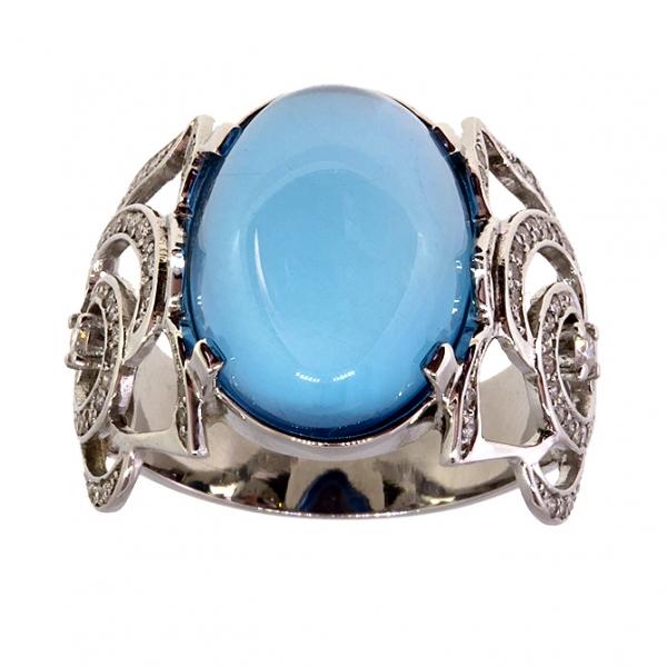 Ювелирное кольцо из белого золота 585 пробы с топазом и бриллиантами RT-6515w