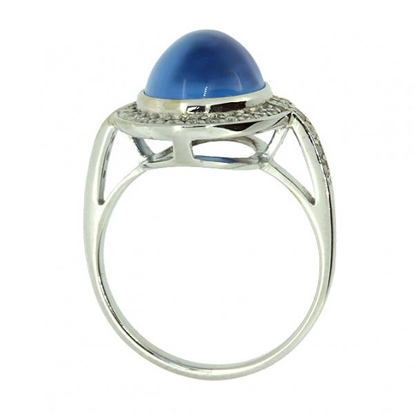 Ювелирное кольцо из белого золота 585 пробы с топазом и бриллиантами RT-6649w