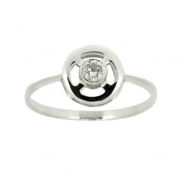 Ювелирное кольцо из белого золота 585 пробы с бриллиантом RD-5591w
