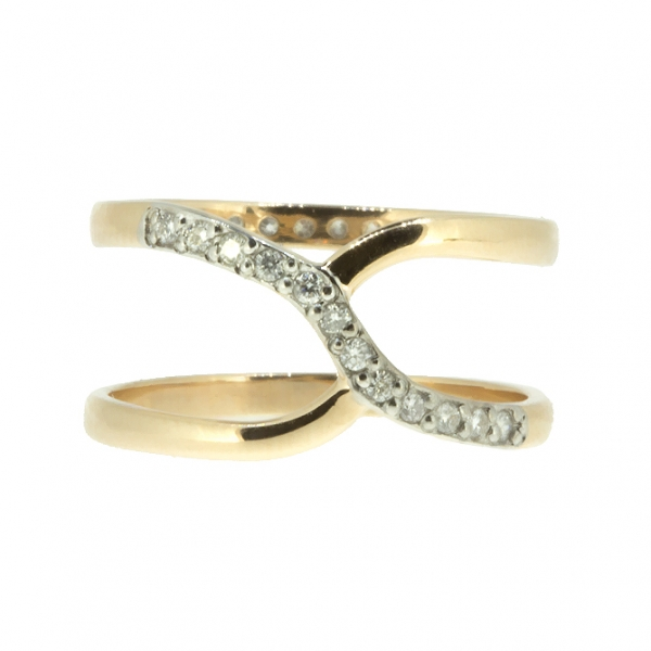 Ювелирное кольцо из красного золота 585 пробы с бриллиантами RD-6881