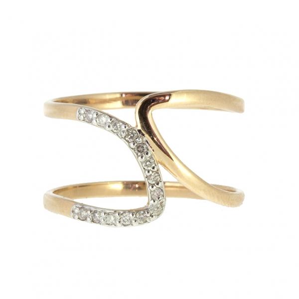 Ювелирное кольцо из красного золота 585 пробы с бриллиантами RD-6882