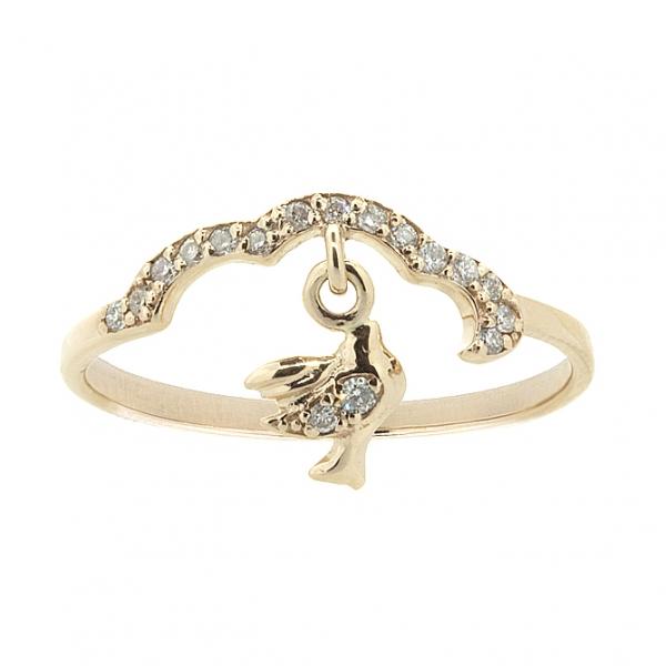 Ювелирное кольцо из красного золота 585 пробы с бриллиантами RD-6900