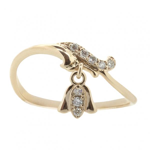 Ювелирное кольцо из красного золота 585 пробы с бриллиантами RD-6901