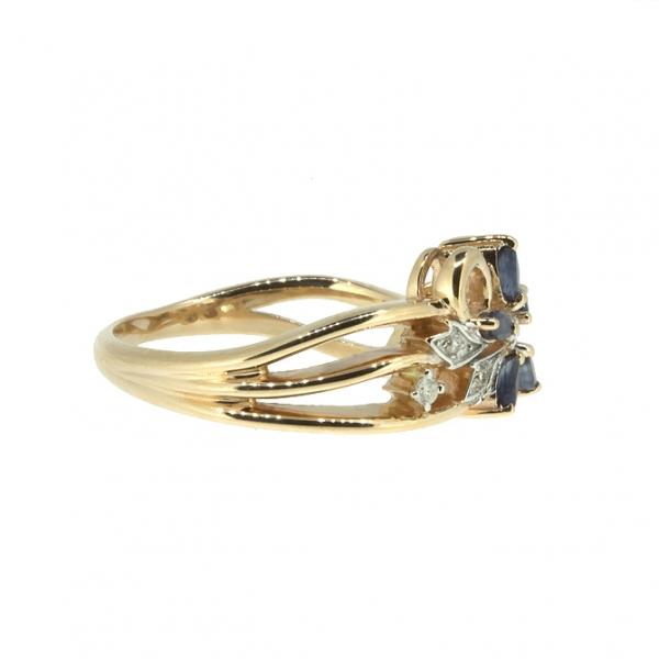 Ювелирное кольцо из красного золота 585 пробы с сапфирами и бриллиантами RDS-5563