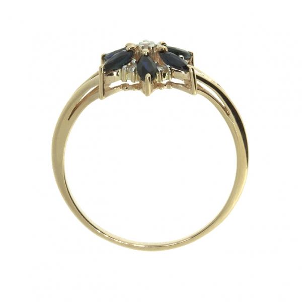 Ювелирное кольцо из красного золота 585 пробы с сапфирами и бриллиантами RDS-5575