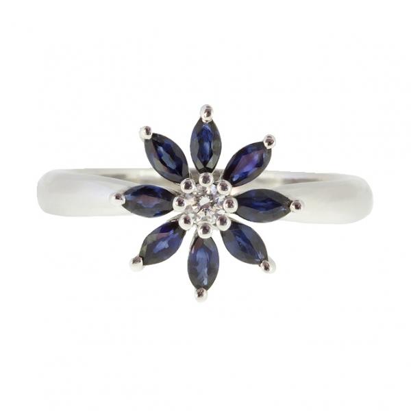 Ювелирное кольцо из белого золота 585 пробы с сапфирами и бриллиантом RDS-5583w