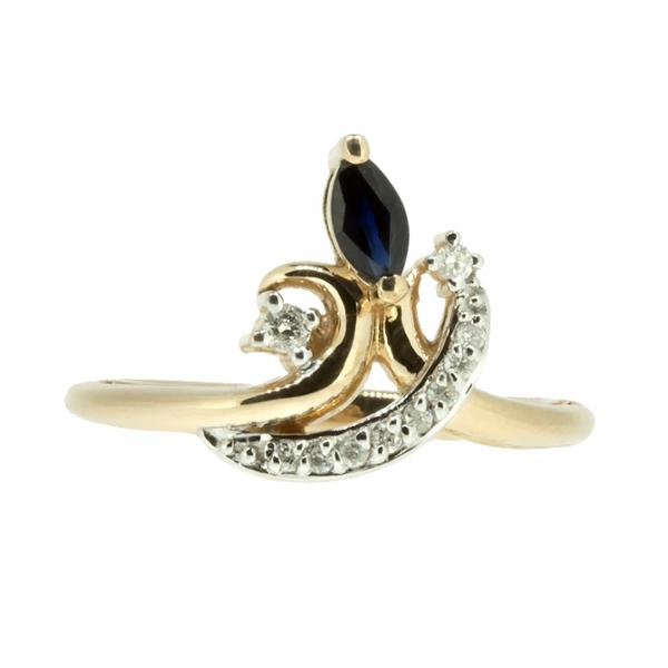 Ювелирное кольцо из красного золота 585 пробы с сапфиром и бриллиантами RDS-6894