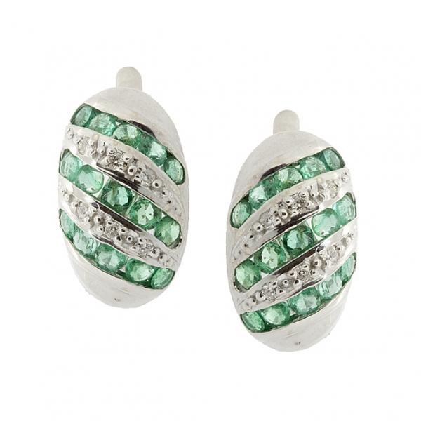 Серебряные серьги 925 пробы с изумрудами и бриллиантами EDE-16530Ag