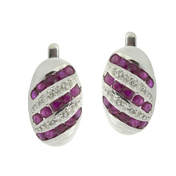 Серебряные серьги 925 пробы с рубинами и бриллиантами EDR-16530Ag