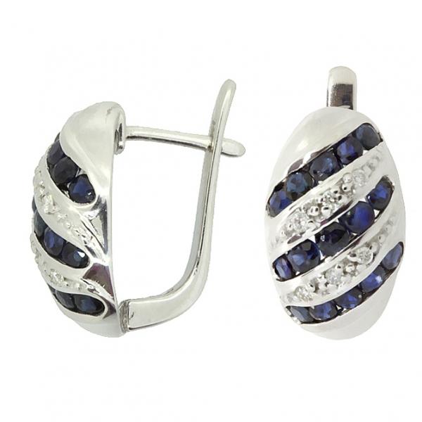 Серебряные серьги 925 пробы с сапфирами и бриллиантами EDS-16530Ag