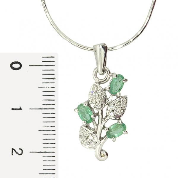 Ювелирная подвеска из серебра 925 пробы с изумрудами и бриллиантами PDE-6153Ag
