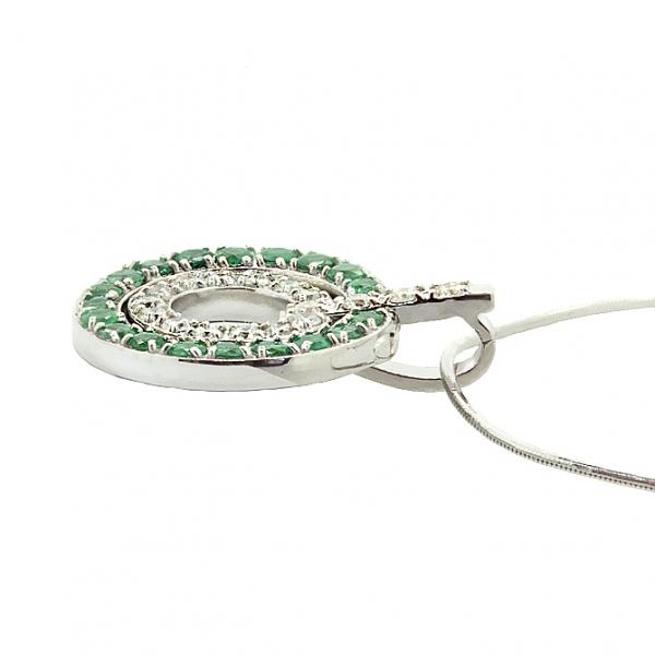 Ювелирная подвеска из серебра 925 пробы с изумрудами и бриллиантами PDE-6224Ag