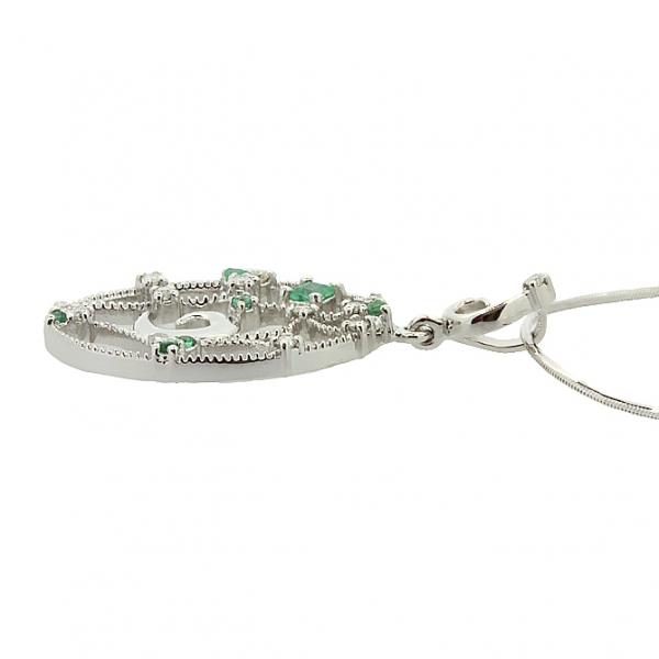 Ювелирная подвеска из серебра 925 пробы с изумрудами и бриллиантами PDE-6499Ag