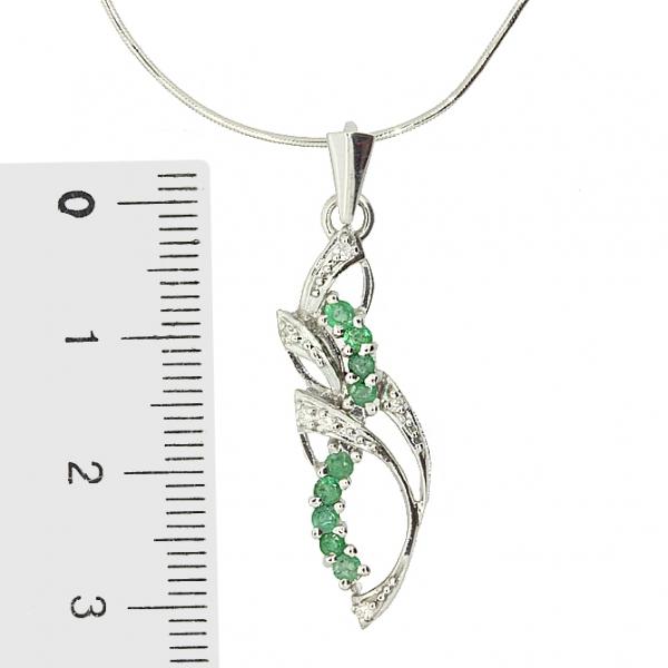Ювелирная подвеска из серебра 925 пробы с изумрудами и бриллиантами PDE-6191Ag
