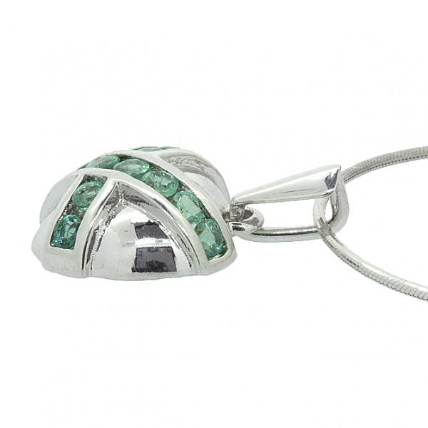 Ювелирная подвеска из серебра 925 пробы с изумрудами PE-6076Ag