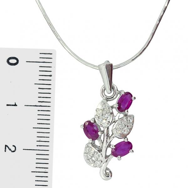 Ювелирная подвеска из серебра 925 пробы с рубинами и бриллиантами PDR-6153Ag