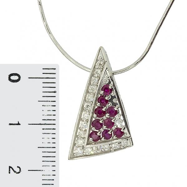 Ювелирная подвеска из серебра 925 пробы с рубинами и фианитами PCzR-6192Ag