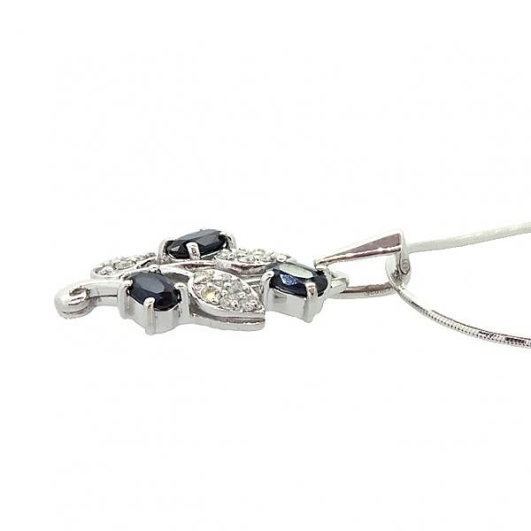Ювелирная подвеска из серебра 925 пробы с сапфирами и бриллиантами PDS-6153Ag