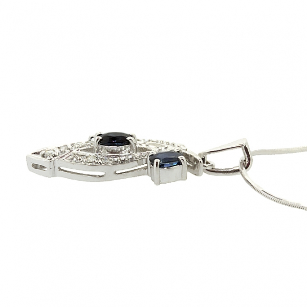 Ювелирная подвеска из серебра 925 пробы с сапфирами и бриллиантами PDS-6155Ag