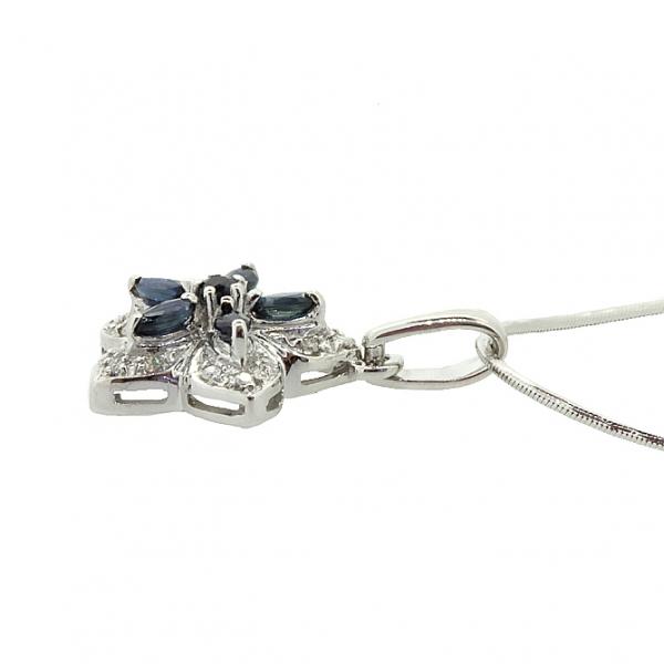 Ювелирная подвеска из серебра 925 пробы с сапфирами и бриллиантами PDS-6211Ag