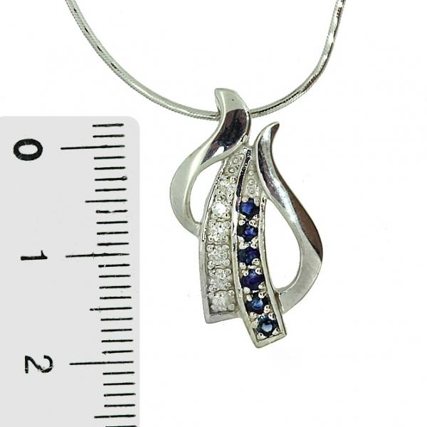 Ювелирная подвеска из серебра 925 пробы с сапфирами и бриллиантами PDS-6458Ag