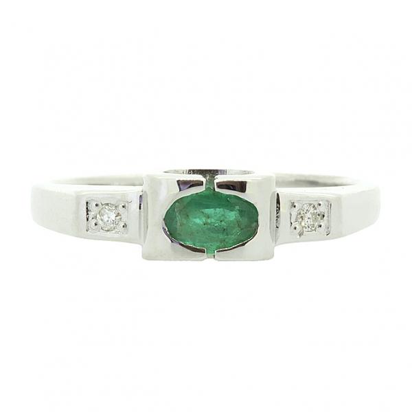 Ювелирное кольцо из серебра 925 пробы с изумрудом и бриллиантами RDE-6081Ag