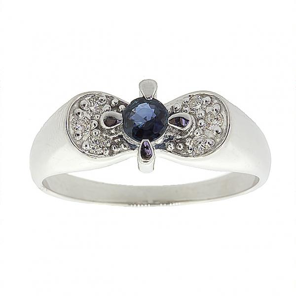 Ювелирное кольцо из серебра 925 пробы с сапфиром и бриллиантами RDS-6584Ag