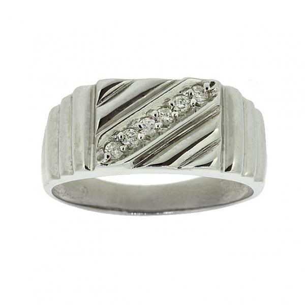 Ювелирное мужское кольцо из серебра 925 пробы с бриллиантами RD-1410Ag