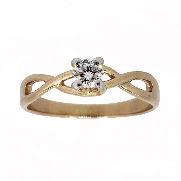 Ювелирное кольцо из красного золота 585 пробы с бриллиантом RD-6877
