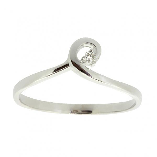 Ювелирное кольцо из белого золота 585 пробы с бриллиантом RD-6897w