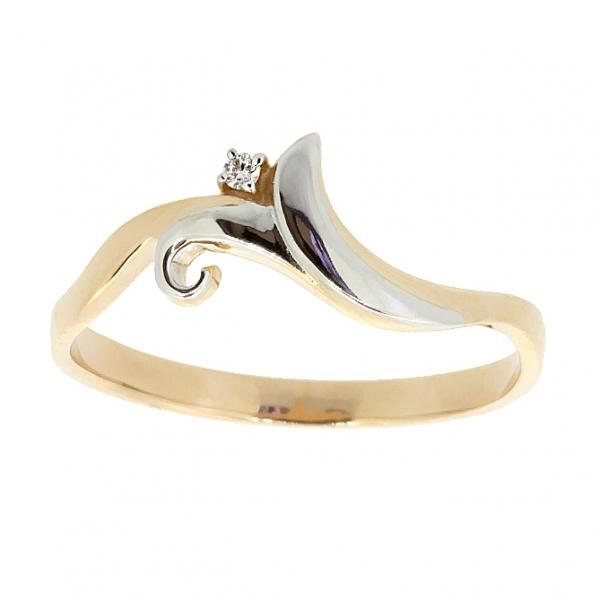 Ювелирное кольцо из красного золота 585 пробы с бриллиантом RD-6909