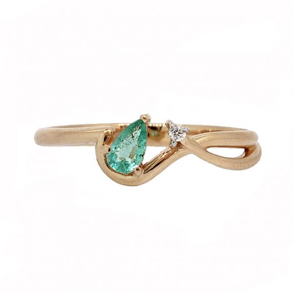 Ювелирное кольцо из красного золота 585 пробы с изумрудом и бриллиантом RDE-5576